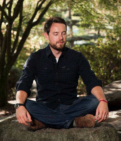 sandy newbigging -meditating-rock